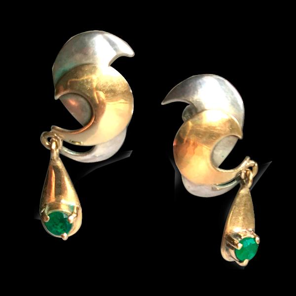 Pendientes Oposite de plata, oro amarillo y esmeraldas